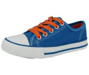 No Sense Unisex Neon Breathable Canvas Lace Up Trainers - Blue Orange