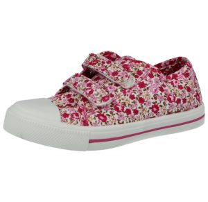 No Sense Girls Breathable Canvas Floral Touch & Close Trainers - Pink
