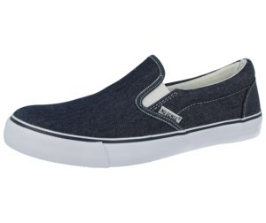 No Sense Men's Breathable Canvas Twin Gusset Slip On Trainers - Navy