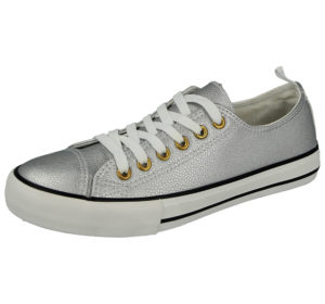 No Sense Women's Silver Metallic Low Top Canvas Trainers