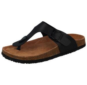Bio Rock Women's Faux Leather Toe Post Buckled Sandals - Black
