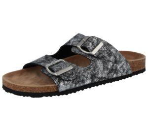 Bio Rock Women's Metallic Snake Print Slider Sandals - Platinum