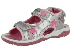Kella Girls Faux Leather Silver Triple Touch & Close Sandals