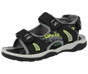 Galop Boys Faux Leather Touch & Close Gladiator Sandals - Black/Green