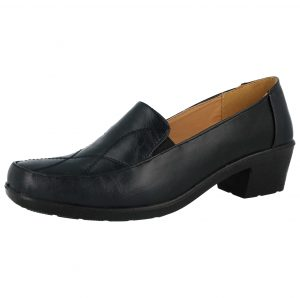Dr Lightfoot Women's Black Faux Leather Slip On Loafers