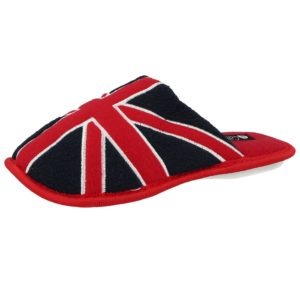 Cara Mia Womens & Kids Union Jack Fleece Mule Slippers - Red