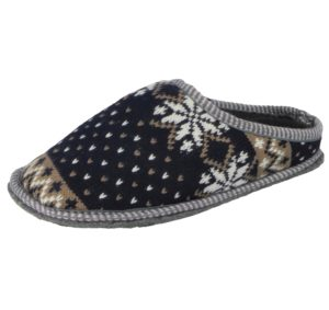 Cara Mia Women's Fairisle Cable Knit Mule Slippers - Navy