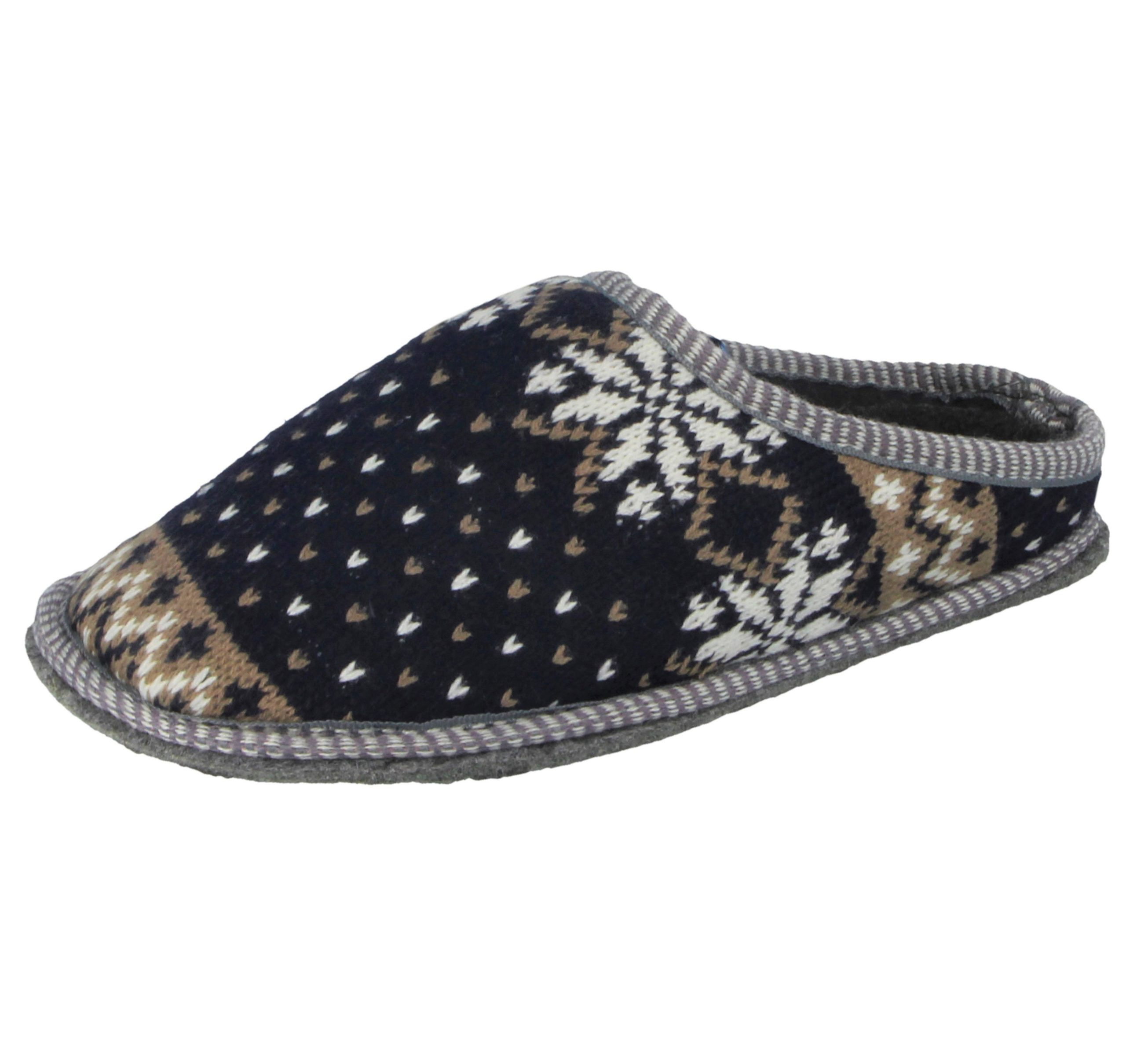 Womens Mule Slippers Cable Knit Glittery Black Red Ladies UK Size 3 4 5 6 7 8