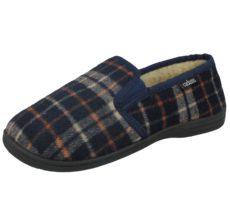 Cadans Men's Textile Moccasin Slip On Slippers - Navy tartan