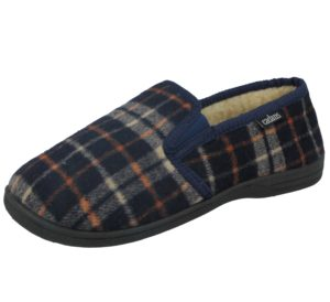 Cadans Men's Textile Moccasin Slip On Slippers - Navy tartan
