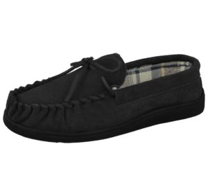 Cushion Walk Men's Soft Suede Moccasin Slippers - Black