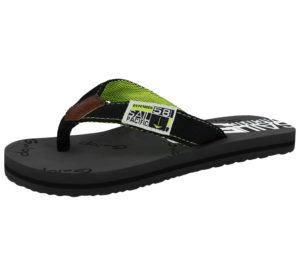 Galop Boys Synthetic Sports Toe Post Flip Flops - Black/Green