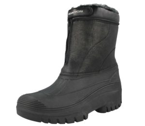 Groundwork Unisex Black Faux Leather Fur Lined Winter Boots