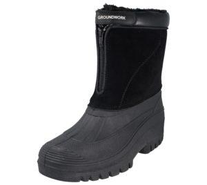 Groundwork Men's Faux Leather Fleece Lined Snow Boots - Black