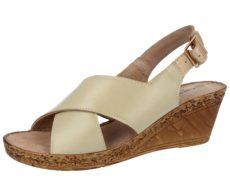 Cushion Walk Women's Faux Leather Cross Strap Wedge Sandals - Beige
