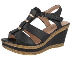 Cushion Walk Women's Faux Leather Gladiator Wedge Sandals - Black