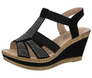 Cushion Walk Women's Faux Suede Diamante Wedge Sandals - Black