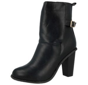 Awsome Women's Black Faux Leather High Heel Ankle Boots