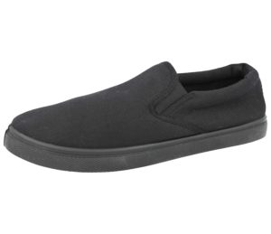 Urban Jacks Men's Slip On Breathable Canvas Trainers - All Black