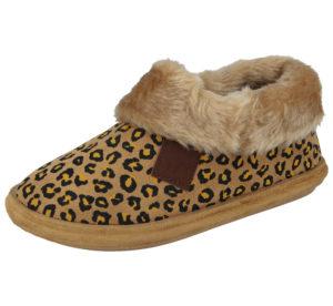 Jo & Joe Faux Suede Leopard Print Pull On Slipper Boots - Brown