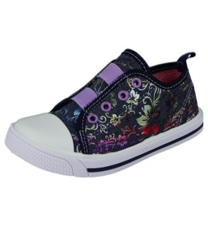 Chatterbox Girls Breathable Canvas Stitched Slip On Trainers