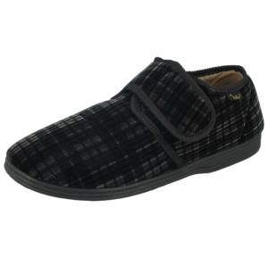 Dr Keller Men's Tartan Touch & Close Slippers - Grey