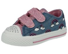 Chatterbox Girls Breathable Canvas Denim Light Up Trainers