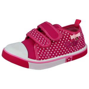 Chatterbox Girls Pink Breathable Canvas Polka Dot Trainers