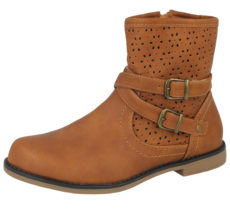 Krush Girls Tan Faux Leather Buckle Ankle Boots