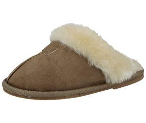 Ella Girls Faux Suede Fur Lined Mule Slippers - Beige