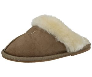 Ella Girls Faux Suede Fur Lined Mule Slippers - Beige