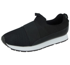 Urban Jacks Girls Mesh Slip On Trainers - Black
