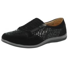 Cushion Walk Women's Soft Suede Zip Slip On Pumps - Black