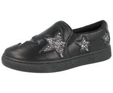 Krush Women's Metallic Glitter Star Slip On Trainers - Black