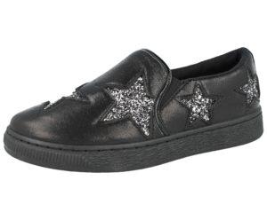 Krush Women's Metallic Glitter Star Slip On Trainers - Black