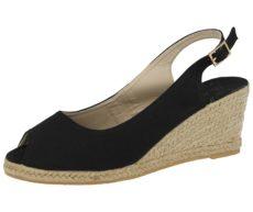 Maya Grace Women's Faux Leather Espadrille Wedge Sandals - Black