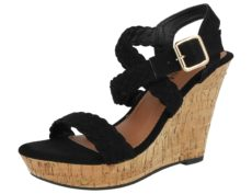 Krush Women's Faux Suede Plaited Espadrille Wedged Sandals - Black