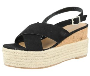 Krush Women's Faux Suede Cross Over Wedge Sandals - Black