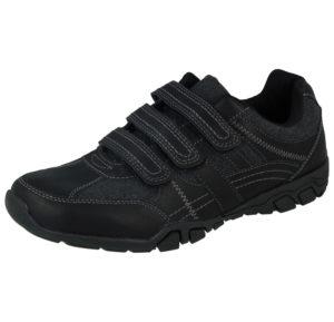 Cushion Walk Men's Faux Leather Triple Touch & Close Trainers - Black