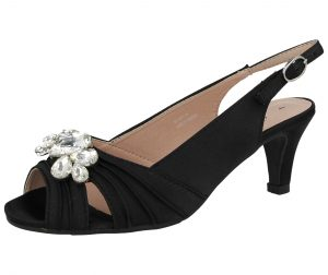 Comfort Plus Women's Satin Diamante Buckle Kitten Heels - Black
