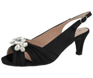 Comfort Plus Women's Satin Diamante Buckle Kitten Heels - Black