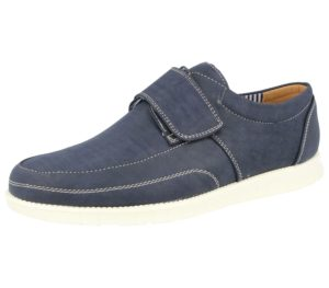 Cushion Walk Men's Faux Leather Touch & Close Boat Shoes - Navy