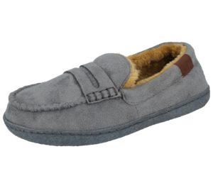 Jo & Joe Mini Boys Faux Suede Moccasin Slippers - Grey