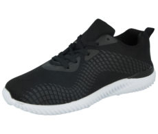Air Tech Men's Breathable Canvas Lace Up Trainers - Black
