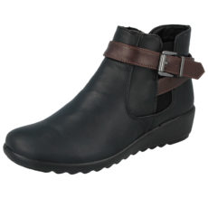 Cushion Walk Women's Faux Suede Casual Ankle Boots - Black PU