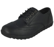 Platino Women's Black Faux Leather Lace Up Brogues