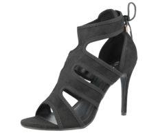 Ella Women's Faux Suede Peep Toe Stiletto High Heels - Black