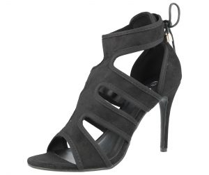 Ella Women's Faux Suede Peep Toe Stiletto High Heels - Black