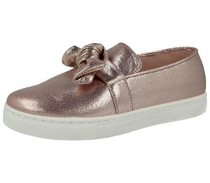 Buckle My Shoe Girls Rose Metallic Bow Slip On Trainers