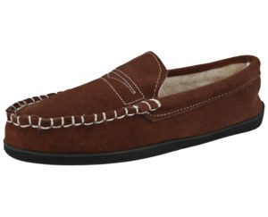 Dr Keller Men's Soft Suede Moccasin Slippers - Brown Leather